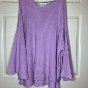 Lavender cable knit sweater with bell sleeves